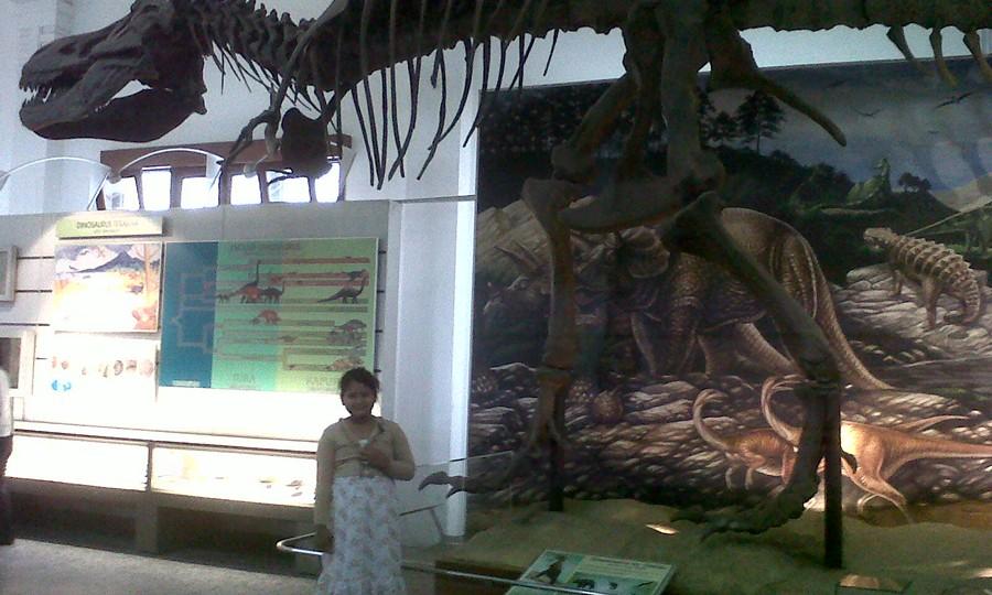Selfie di Bawah Fosil Museum Geologi Bandung