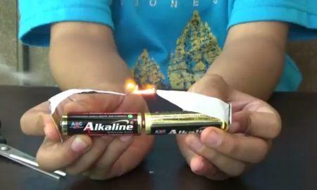 membuat api 2 baterai kertas foil